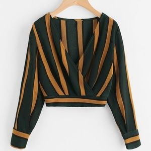 Zaful Tops - Stripped Crop Top Long Sleeve